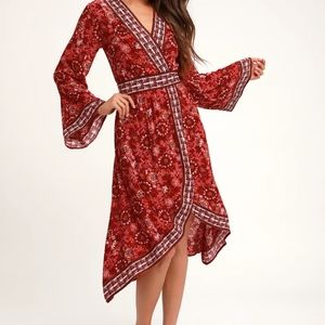 Lulu's Daydream Red Floral Print Bell Sleeve Dress